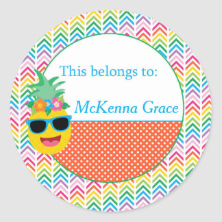 Pineapple Back to School Round Stickers