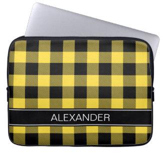Pineapple Black Buffalo Check Plaid Name Monogram Laptop Sleeve