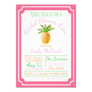 Pineapple Bridal Shower Invitation Pink Breeze