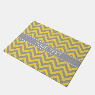 Pineapple Dk Gray LG Chevron Dk Gray Name Monogram Doormat