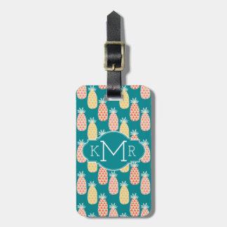 Pineapple Doodle Pattern | Monogram Luggage Tag