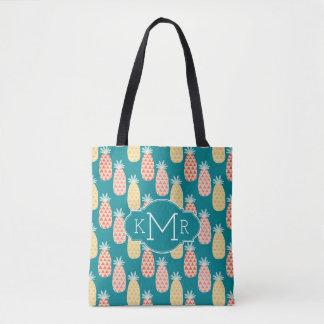 Pineapple Doodle Pattern   Monogram Tote Bag