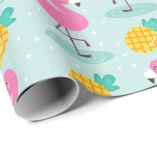 Pineapple Flamingo Wrapping Paper