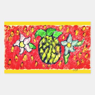 pineapple flowers rectangular sticker