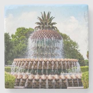 Pineapple Fountain in Charleston, SC Stone Coaster