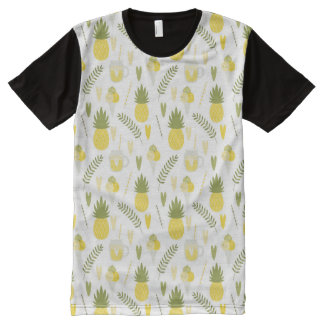 pineapple fruit and juice patterns men's t-shirts