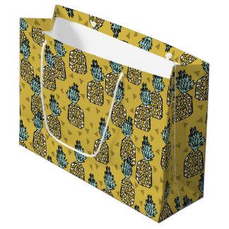 Pineapple / Geo Geometric Yellow / Andrea Lauren Large Gift Bag