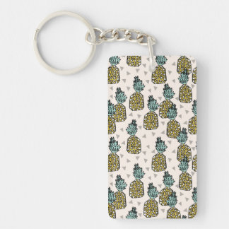 Pineapple Geometric Tropical Summer /Andrea Lauren Double-Sided Rectangular Acrylic Key Ring