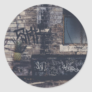Pineapple Graffiti... Classic Round Sticker