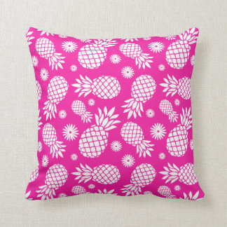 Pineapple graphic flowers tropical pink pillow
