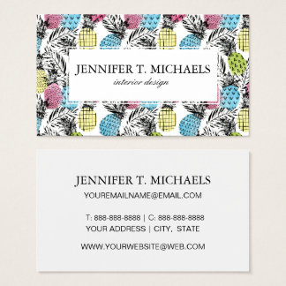 Pineapple Grunge Palms | Monogram Business Card