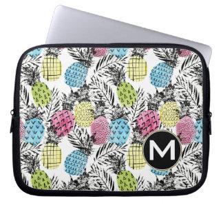 Pineapple Grunge Palms   Monogram Laptop Sleeve