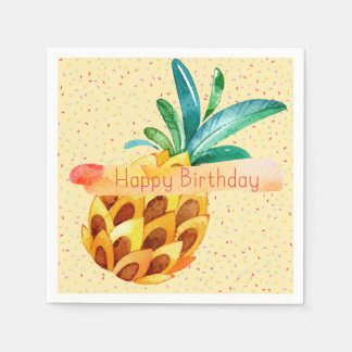 Pineapple Happy Birthday Paper Napkin