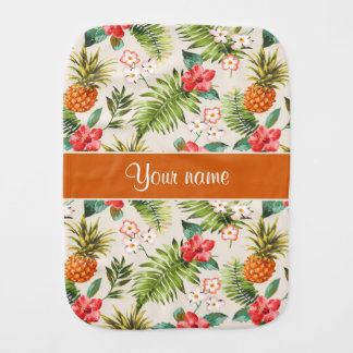 Pineapple Hibiscus and Palm Fronds Baby Burp Cloths