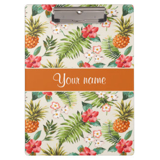 Pineapple Hibiscus and Palm Fronds Clipboards