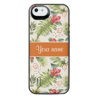 Pineapple Hibiscus and Palm Fronds iPhone SE/5/5s Battery Case