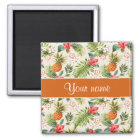 Pineapple Hibiscus and Palm Fronds Magnet