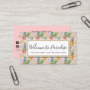 pineapple hibiscus flowers watercolor tropical business card