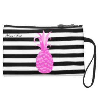 Pineapple in Hot Pink w/ Stripes & Pink Dots Suede Wristlet