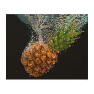 Pineapple in Water Wood Canvas