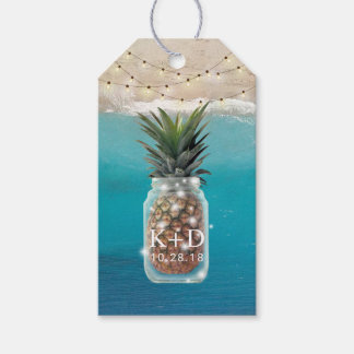 Pineapple Jar String Lights Tropical Beach Wedding Gift Tags