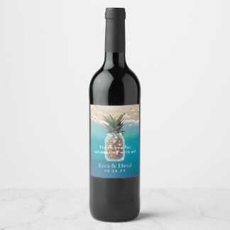 Pineapple Jar String Lights Tropical Beach Wedding Wine Label