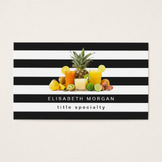 Pineapple Kiwi Fruits Juice - Black White Stripes Business Card