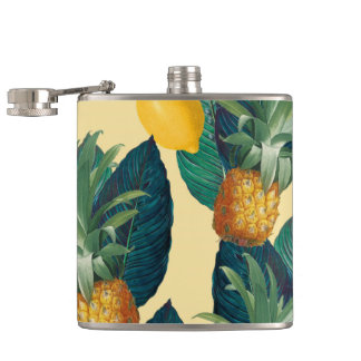 pineapple lemons yellow hip flask