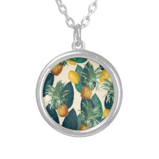 pineapple lemons yellow silver plated necklace