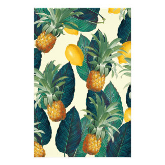 pineapple lemons yellow stationery