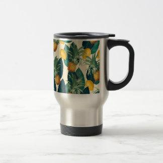 pineapple lemons yellow travel mug