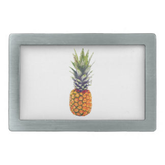 Pineapple Low-Poly Triangulated Rectangular Belt Buckles