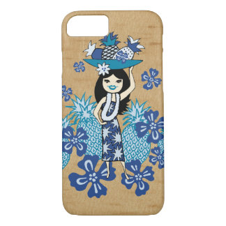 Pineapple Luau Hawaiian Hula Girl Faux Wood iPhone 8/7 Case