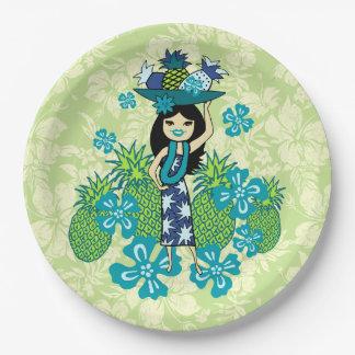 Pineapple Luau Hawaiian Hula Girl Paper Plate