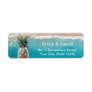 Pineapple Mason Jar String Lights Beach Wedding Return Address Label