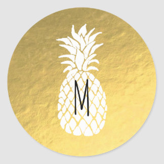 pineapple monogram on gold classic round sticker