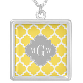 Pineapple Moroccan #5 Dk Gray 3 Initial Monogram Custom Necklace