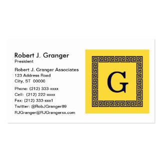 Pineapple, Navy Blue Greek Key #1 Framed Monogram Pack Of Standard Business Cards