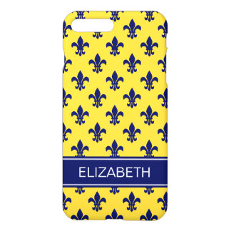 Pineapple Navy Fleur de Lis Navy Name Monogram iPhone 7 Plus Case