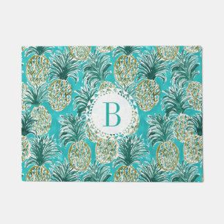 PINEAPPLE O'CLOCK Tropical Watercolor Monogram Doormat