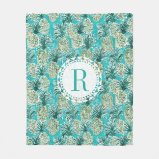 PINEAPPLE O'CLOCK Tropical Watercolor Monogram Fleece Blanket