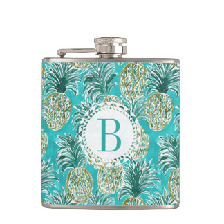 PINEAPPLE O'CLOCK Tropical Watercolor Monogram Hip Flask