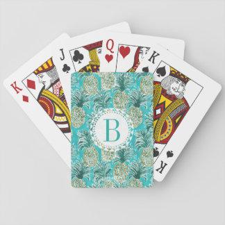 PINEAPPLE O'CLOCK Tropical Watercolor Monogram Poker Deck