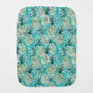 PINEAPPLE O'CLOCK Tropical Whimsical Watercolor Burp Cloth