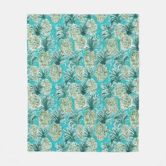 PINEAPPLE O'CLOCK Tropical Whimsical Watercolor Fleece Blanket