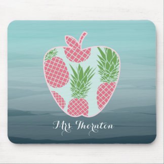 Pineapple Ombre Apple Personalised Teacher Mouse Pad