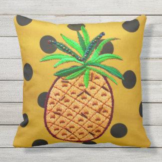 Pineapple on Polka Dots Throw Pillow