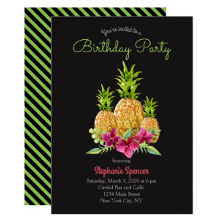 Pineapple Orchids Ferns Tropical Birthday Card