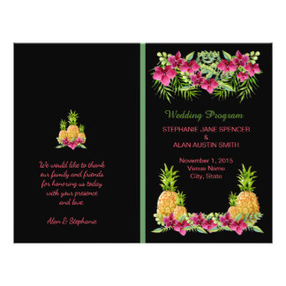 Pineapple Orchids Ferns Tropical Wedding Program Flyer