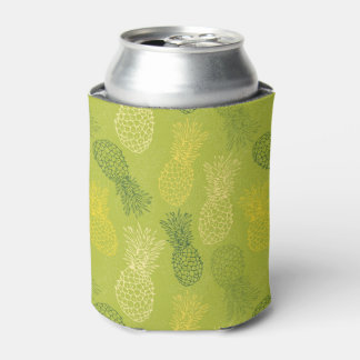 Pineapple Outline Pattern on Green Can Cooler
